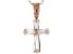 White Cubic Zirconia 18K Rose Gold Over Sterling Silver Cross Pendant With Chain 0.77ctw