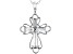 White Cubic Zirconia Rhodium Over Sterling Silver Cross Pendant With Chain 0.88ctw