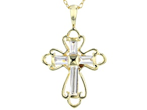 White Cubic Zirconia 18K Yellow Gold Over Sterling Silver Cross Pendant With Chain 0.88ctw