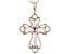 White Cubic Zirconia 18K Rose Gold Over Sterling Silver Cross Pendant With Chain 0.88ctw