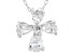 White Cubic Zirconia Rhodium Over Sterling Silver Cross Pendant With Chain 1.59ctw