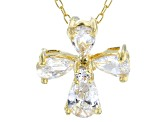 White Cubic Zirconia 18K Yellow Gold Over Sterling Silver Cross Pendant With Chain 1.59ctw