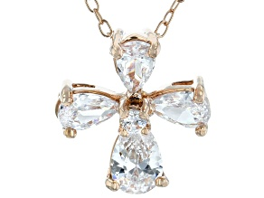 White Cubic Zirconia 18K Rose Gold Over Sterling Silver Cross Pendant With Chain 1.59ctw