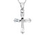 White Cubic Zirconia Rhodium Over Sterling Silver Cross Pendant With Chain 0.97ctw