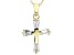 White Cubic Zirconia 18K Yellow Gold Over Sterling Silver Cross Pendant With Chain 0.97ctw