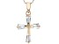 White Cubic Zirconia 18K Rose Gold Over Sterling Silver Cross Pendant With Chain 0.97ctw