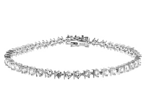 White Cubic Zirconia Rhodium Over Sterling Silver Tennis Bracelet 5.96ctw