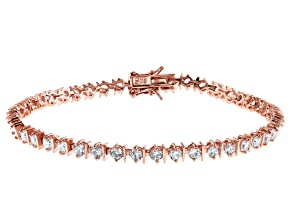 White Cubic Zirconia 18K Rose Gold Over Sterling Silver Tennis Bracelet 5.96ctw