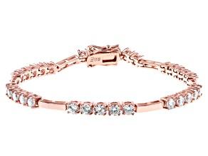 White Cubic Zirconia 18K Rose Gold Over Sterling Silver Tennis Bracelet 5.26ctw