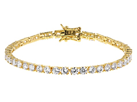 White Cubic Zirconia 18K Yellow Gold Over Sterling Silver Tennis Bracelet 8.25ctw