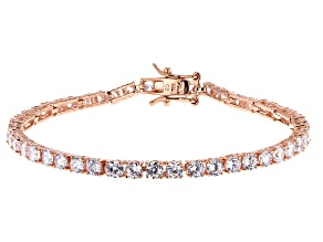 White Cubic Zirconia 18K Rose Gold Over Sterling Silver Tennis Bracelet 8.25ctw
