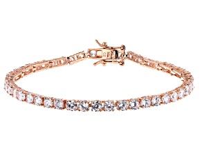 White Cubic Zirconia 18K Rose Gold Over Sterling Silver Tennis Bracelet 8.25ctw
