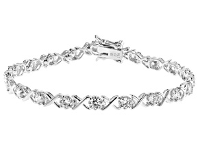 White Cubic Zirconia Rhodium Over Sterling Silver Tennis Bracelet 3.51ctw