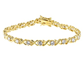 White Cubic Zirconia 18K Yellow Gold Over Sterling Silver Tennis Bracelet 3.51ctw