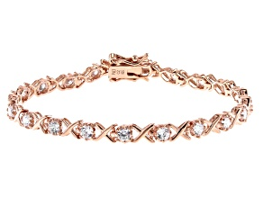 White Cubic Zirconia 18K Rose Gold Over Sterling Silver Tennis Bracelet 3.51ctw