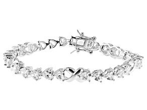 White Cubic Zirconia Rhodium Over Sterling Silver Heart Tennis Bracelet 10.58ctw
