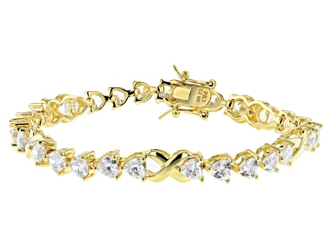 White Cubic Zirconia 18K Yellow Gold Over Sterling Silver Heart Tennis Bracelet 10.58ctw