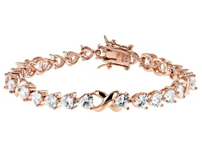 White Cubic Zirconia 18K Rose Gold Over Sterling Silver Heart Tennis Bracelet 10.58ctw