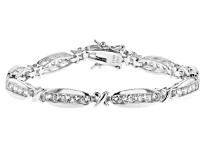 White Cubic Zirconia Rhodium Over Sterling Silver Tennis Bracelet 4.86ctw