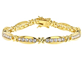 White Cubic Zirconia 18K Yellow Gold Over Sterling Silver Tennis Bracelet 4.86ctw