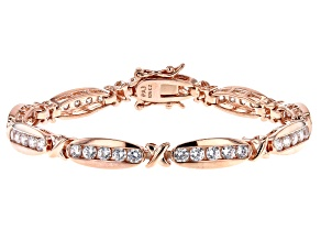 White Cubic Zirconia 18K Rose Gold Over Sterling Silver Tennis Bracelet 4.86ctw