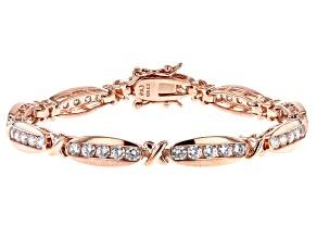 White Cubic Zirconia 18K Rose Gold Over Sterling Silver Tennis Bracelet 4.86ctw