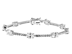 White Cubic Zirconia Rhodium Over Sterling Silver Tennis Bracelet 11.84ctw