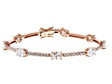 White Cubic Zirconia 18K Rose Gold Over Sterling Silver Tennis Bracelet 11.84ctw