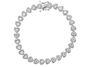 White Cubic Zirconia Rhodium Over Sterling Silver Heart Tennis Bracelet 5.26ctw