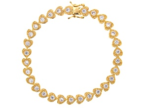 White Cubic Zirconia 18K Yellow Gold Over Sterling Silver Heart Tennis Bracelet 5.26ctw