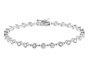 White Cubic Zirconia Rhodium Over Sterling Silver Tennis Bracelet 4.17ctw