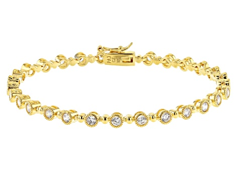 White Cubic Zirconia 18K Yellow Gold Over Sterling Silver Tennis Bracelet 4.17ctw