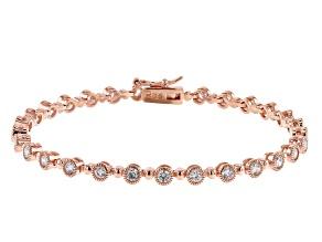 White Cubic Zirconia 18K Rose Gold Over Sterling Silver Tennis Bracelet 4.17ctw