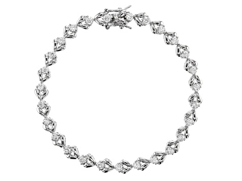 White Cubic Zirconia Rhodium Over Sterling Silver Tennis Bracelet 3.89ctw