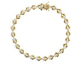 White Cubic Zirconia 18K Yellow Gold Over Sterling Silver Tennis Bracelet 3.89ctw