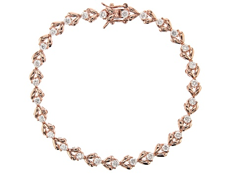 White Cubic Zirconia 18K Rose Gold Over Sterling Silver Tennis Bracelet 3.89ctw
