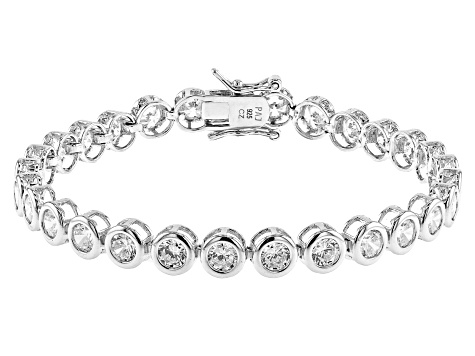 White Cubic Zirconia Rhodium Over Sterling Silver Tennis Bracelet 11.34ctw