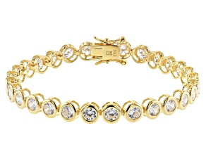 White Cubic Zirconia 18K Yellow Gold Over Sterling Silver Tennis Bracelet 11.34ctw