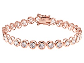 White Cubic Zirconia 18K Rose Gold Over Sterling Silver Tennis Bracelet 11.34ctw