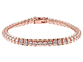 White Cubic Zirconia 18K Rose Gold Over Sterling Silver Tennis Bracelet 8.95ctw
