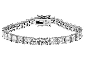 White Cubic Zirconia Rhodium Over Sterling Silver Tennis Bracelet 15.09ctw