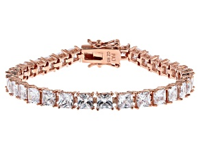 White Cubic Zirconia 18K Rose Gold Over Sterling Silver Tennis Bracelet 15.09ctw