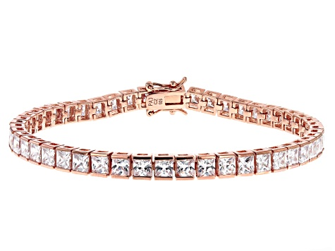 White Cubic Zirconia 18K Rose Gold Over Sterling Silver Tennis Bracelet 17.28ctw