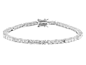 White Cubic Zirconia Rhodium Over Sterling Silver Tennis Bracelet 9.82ctw