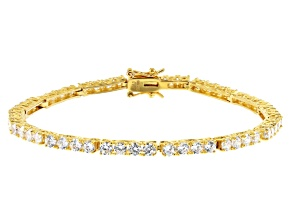 White Cubic Zirconia 18K Yellow Gold Over Sterling Silver Tennis Bracelet 9.82ctw