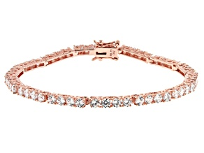 White Cubic Zirconia 18K Rose Gold Over Sterling Silver Tennis Bracelet 9.82ctw