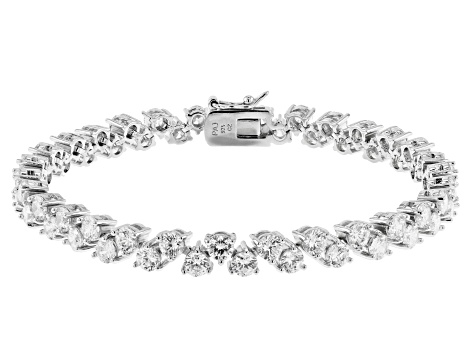 White Cubic Zirconia Rhodium Over Sterling Silver Tennis Bracelet 18.60ctw