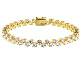 White Cubic Zirconia 18K Yellow Gold Over Sterling Silver Tennis Bracelet 18.60ctw