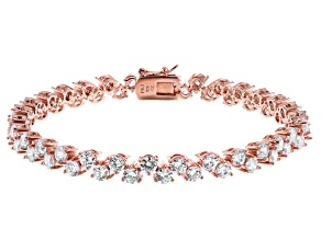 White Cubic Zirconia 18K Rose Gold Over Sterling Silver Tennis Bracelet 18.60ctw