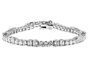 White Cubic Zirconia Rhodium Over Sterling Silver Tennis Bracelet 10.41ctw